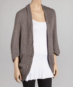 Another great find on #zulily! Brown Sparkle Knit Ribbed Dolman Open Cardigan #zulilyfinds
