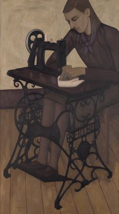 John Brack (Australian, 1920-1999) - The sewing machine, 1955