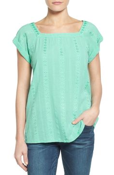 Caslon® Square Neck Embroidered Blouse (Regular