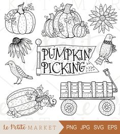 Hand Drawn Pumpkin Patch Clip Art, Pumpkin Patch Clipart, Hand Drawn Pumpkins, Hand Drawn Halloween