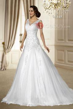 Vネックビーズ&スパンコールのチャペルのトラインノースリーブチュールジッパーアップウエディングドレス