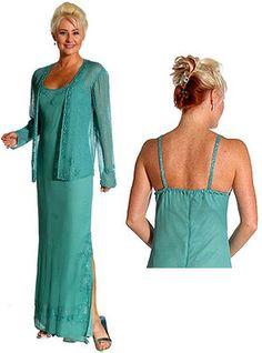 US $164.90   Silk Chiffon Beaded Mother Bride Formal jacket Dress XS to 1X Free Evening Bag
