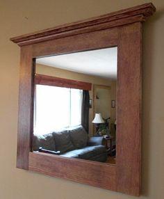 Oak Mirror - Rustic Oak Framed Mirror - Custom Made Oak Framed Mirror - Distressed Oak Framed Mirror - Made to Order Oak Framed Mirror by AlongtheRidge on Etsy https://www.etsy.com/listing/182531570/oak-mirror-rustic-oak-framed-mirror
