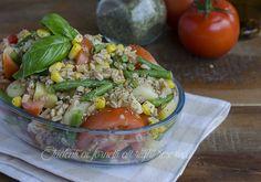 insalata di farro fagiolini patate pomodori e mais ricetta insalata fredda vegetariana vegana