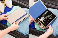 "This awesome ""notebook"" jewelry travel organizer is totally DIY!"