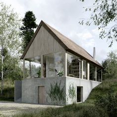 Post Modern Architecture, Studios Architecture, Minimalist Architecture, Facade Architecture, Off Grid House, Small Modern Home, Architecture Visualization, Small Buildings, Outside Living