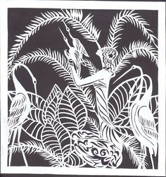 girl and storks-black&white papercut | Flickr - Photo Sharing!