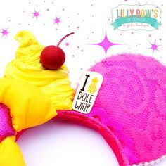 ~ DOLE WHIP inspired Minnie/Mickey Ears....  I LOVE DOLE WHIP!! Hot pink lace ears and a bright yellow bow topped with your favorite summer time treat! I LOVE DOLE WHIP, DO YOU? •*´¨`*•.¸¸.•*´¨`*•.¸¸.•*´¨`*•.¸¸.•*´¨`*•.¸¸.••*´¨`*•.¸¸.•*´¨`*•.¸¸.•*´¨`*•.¸¸.•*´¨`*•.¸¸.•  ~Please allow up to two weeks to receive your order. ~All of our products are hand crafted made to order, minor variations may occur.  •*´¨`*•.¸¸.•*´¨`*•.¸¸.•*´¨`*•.¸¸...