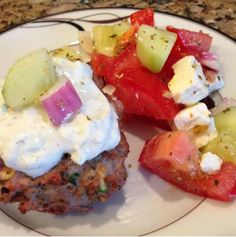 Recipe for: 21 Day Fix Greek Turkey Burgers! Check out my blog for fast, fun, and easy recipes!