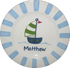 Love this plate. Nice to add to a plate stand on a nursery shelf for decor. Custom painted to order.