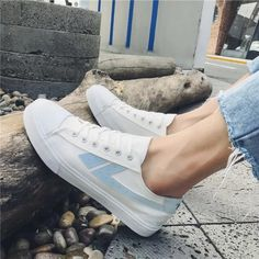 Comfortable White and Blue Lace up Casual Canvas Shoes Hui Li Sneaker you best choice for School, Going out -TOP Design by FSJ Strappy Heels, High Heels, Shoes Heels, Flats, Blue Lace, Lace Up, Long Boots, Canvas Sneakers, Loafers For Women