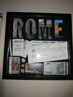 Great way to display all those travel ticket stub and a few pictures! #DIY travel shadow box