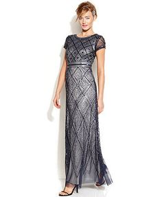 Adrianna Papell Cap-Sleeve Beaded Illusion Gown