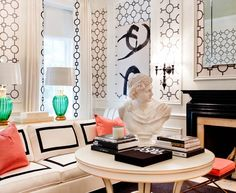 Baroque White Coral Decoration  fashion New York Eclectic Living Room Image Ideas with  area rug black and white coral curtains decorative pillows Fireplace fireplace mantel interior wallpaper