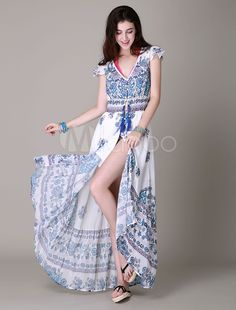 Two-Tone-Maxi-Kleid mit Print Split Deep-V Chiffon für Frauen