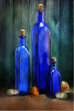 Blue bottles are so gorgeous - they make an art statement - an instant still…