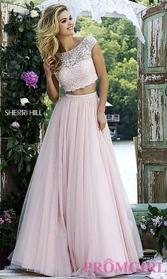 Ivory Two Piece Dress with Cap Sleeves by Sherri Hill at PromGirl.com