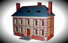 Parochial Residence Paper Model In HO Scale - by Luc Mahler - == -  A nice paper model in HO scale (1/87 scale) of a French Parochial Residence, created by designer Luc Mahler, from Pleine-Page website. Perfect for dioramas or train sets.