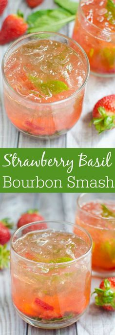 Strawberry Basil Bourbon Smash – juicy strawberries and fresh basil are the perfect pair in this bourbon cocktail recipe! Strawberry Basil Bourbon Smash – juicy strawberries and fresh basil are the perfect pair in this bourbon cocktail recipe! Basil Drinks, Basil Cocktail, Cocktail Drinks, Cocktail Recipes, Cocktails With Basil, Cocktail Ideas, Cocktail Theme, Cocktail Maker, Party Drinks