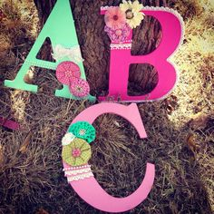 Shabby chic Wooden Letters  on Etsy, $17.99