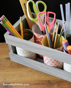 More often than not, a craft supply organizer tends to be bulky, take up valuable workspace and costs way more than it should. So, we came up with one that's cute and functional yet doesn't break the bank. - Everyday Dishes & DIY