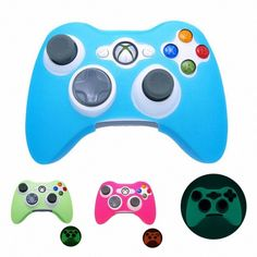BLUE GLOW in DARK Xbox 360 Game Controller Silicone Case Skin Protector Cover...