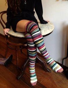 Valentina's Long Socks, Ravelry I love these! Lounge Outfit, Cozy Socks, Fall Socks, Creation Couture, Little Doll, Knitting Socks, Crochet Socks, Mode Style, Sock Shoes