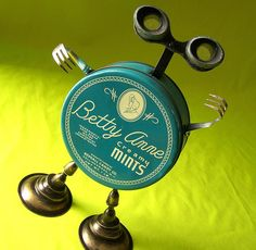 robot assemblage sculpture *BETTY ANNE - A Well-Rounded Robot