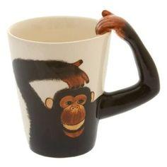 Ceramic Coffee Cups, Coffee Mugs, Monkey Coffee, Mug Cup, Tea Cups, Cool Designs, Pottery, Handle, Canning