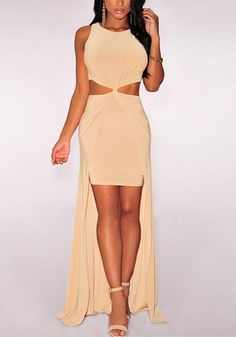 This peach knot-front high-low dress features knot design in front with cutout detailing at waist, maxi length and bodycon fit with crew neckline and sleeveless cut. Get this beauty here.   Lookbook Store