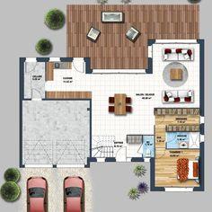 Les maisons avec vue sur mer sont fréquentes sur la côte vendéenne. Cette maison contemporaine à étage dispose d'un balcon[...] Construction, Location, Sims 4, Sweet Home, Floor Plans, How To Plan, Deco, Architecture, House