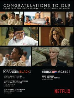 Netflix ad in Hollywood Reporter - Winners OITNB for Best Comedy, Kate Mulgrew for Supporting Actress in a Comedy, Uzo Aduba for Guest Role