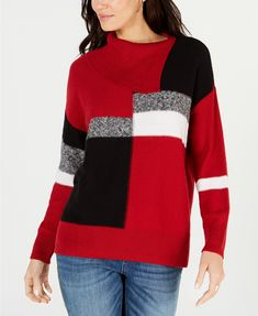 Style & Co Colorblocked Envelope-Neck Sweater, Created for Macy's & Reviews - Sweaters - Women - Macy's