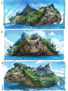 ArtStation - Ryujin - The Ever Moving Land, Dean Oyebo Fantasy Monster, Monster Art, Mythical Creatures Art, Magical Creatures, Fantasy Concept Art, Fantasy Artwork, Creature Concept Art, Creature Design, Fantasy Places