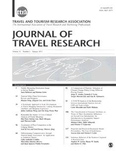 Journal of travel research.  publicado trimestralmente, es una revista de investigación centrada en los viajes y el comportamiento del turismo, la gestión y el desarrollo.   Impact Factor: 1.579  Ranked: 7 out of 36 in Hospitality, Leisure, Sport & Tourism  Source: 2011 Journal Citation Reports® (Thomson Reuters, 2011)