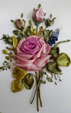Wonderful Ribbon Embroidery Flowers by Hand Ideas. Enchanting Ribbon Embroidery Flowers by Hand Ideas. Ribbon Embroidery Tutorial, Hand Embroidery Flowers, Silk Ribbon Embroidery, Hand Embroidery Designs, Embroidery Kits, Embroidery Supplies, Embroidery Stitches, Embroidery Tattoo, Ribbon Art