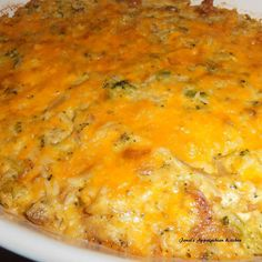 We love casseroles, especially this one...it is the perfect marriage of chicken and rice with broccoli casserole.  It takes me back to Sunday dinners on the ground, pot luck with family and supper with Mama and Daddy.  Pure, simple comfort food.