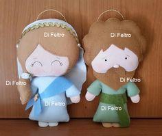 Di Feltro: Cod DF130 - Maria, José, Menino Jesus e bichinhos