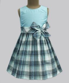 Look what I found on #zulily! Ice Melow Mint Plaid Double Bow Dress - Infant, Toddler & Girls #zulilyfinds