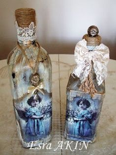 Beautiful angels on decoupaged bottles by Esra Akin