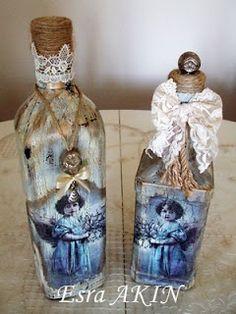 Beautiful angels on decoupaged bottles by Esra Akin