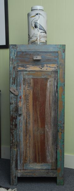Narrow Distressed Reclaimed Teak Wood Cabinet