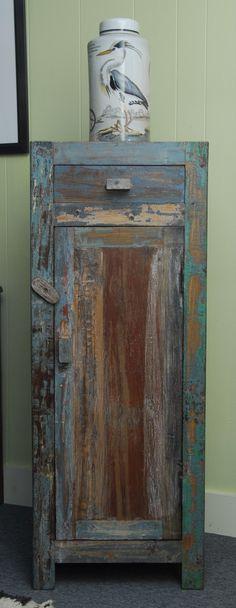 Narrow Distressed Reclaimed Teak Wood Cabinet