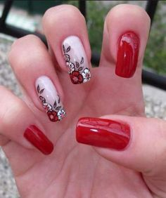 70 Best Stunning Red and Dark Red Square Nails Manicure Design Make You Mad in Winter - Page 5 Gel Uv Nails, Dark Nails, Nail Manicure, Red Nails, Acrylic Nails, Nail Polish, Classy Nail Designs, New Nail Designs, Fancy Nails