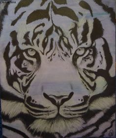 """A more recent piece (As in last week) DIY tone paper with ebony pencil and chalk. Hoping to make it the first in a series of """"big cats"""" with varying colored backgrounds, but since the Tiger is my favorite animal, I had to start here.  (Watercolor, Ebony pencil, and chalk on Bristol board) #Art #Eyeofthetiger #Sketch"""