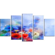 DesignArt 'Blue Corn Flowers and Red Poppies' 5 Piece Painting Print on Wrapped Canvas Set