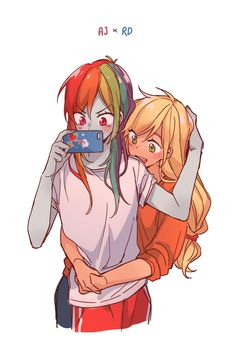 Dash and Apple My Little Pony Characters, My Little Pony Comic, My Little Pony Drawing, My Little Pony Pictures, Cute Lesbian Couples, Lesbian Art, Cute Anime Couples, My Little Pony Fanfiction, Hug Pose
