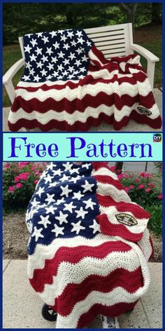 6 Unique Crochet American Afghan Free Patterns #freecrochetpattern #americanflag #blanket #afghan