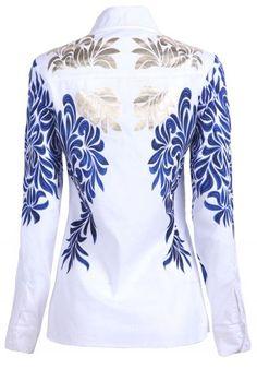 #SheInside White with Blue Baroque Embroidery Long Sleeve Blouse - Sheinside.com