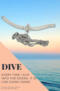 Scuba Diver Charm - Sterling Silver Diving Charm - Ocean Charms - Nautical Jewelry by Caligo Design - Nature Inspired Jewelry - Ocean Jewelry, Nautical Jewelry, Beach Jewelry, Pirate Jewelry, Scuba Diving, Handmade Bracelets, Fashion Bracelets, Charmed, Nature Inspired